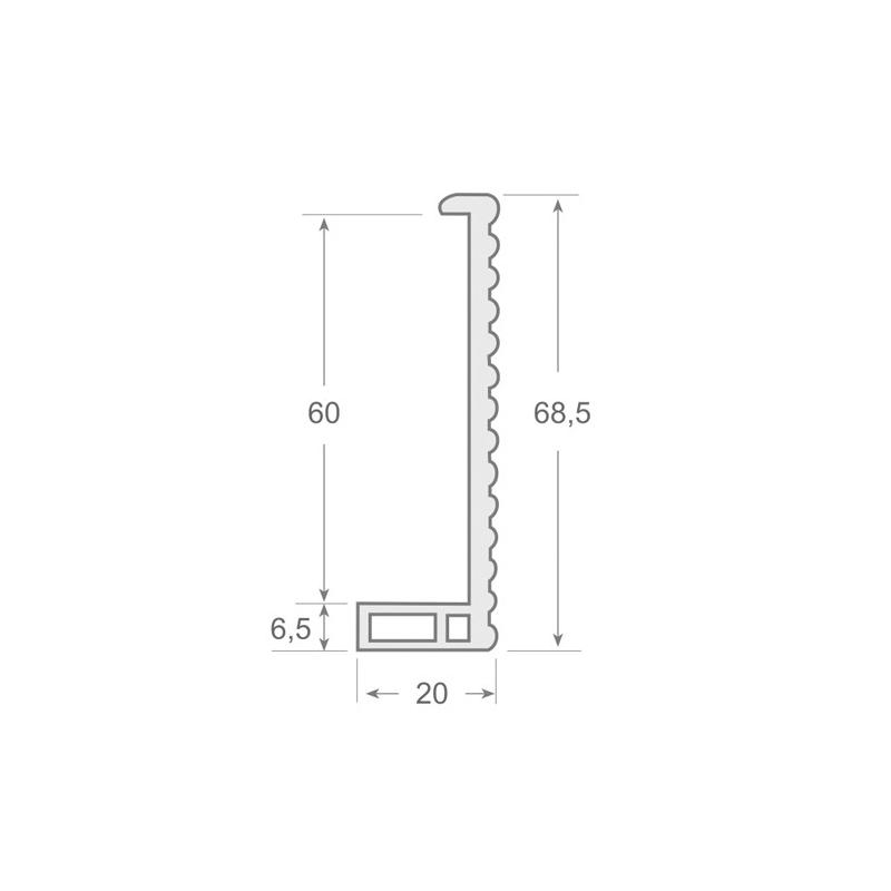 N.120 - Perfil contorno marco de PVC rígido en color negro