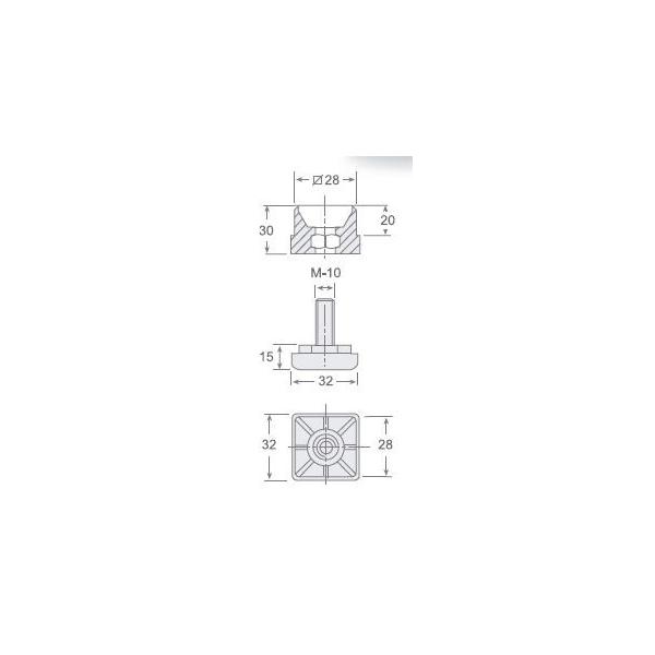 30x30-PL - Pata con regulador en polietileno antichoque