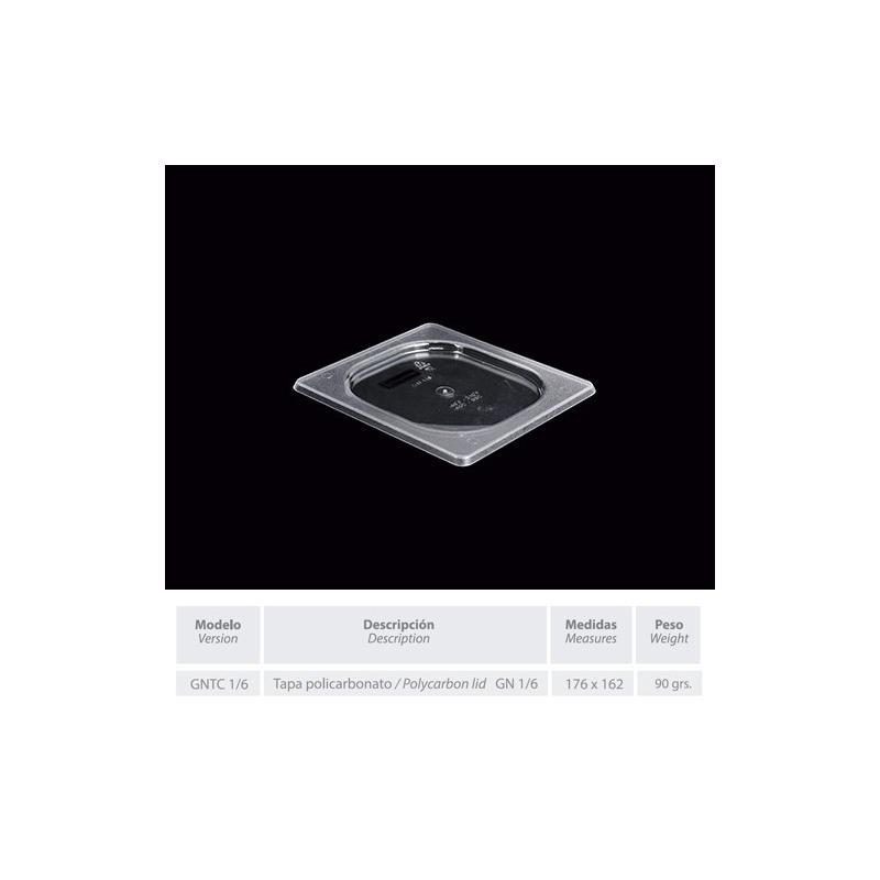 GNTC-1/6 - Tapa en policarbonato medidas GASTRONORM de 176 x 162 mm