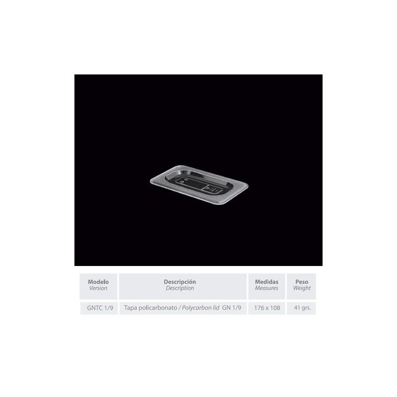 GNTC-1/9 - Tapa de policarbonato en medidas GASTRONORM de 176 x 108 mm