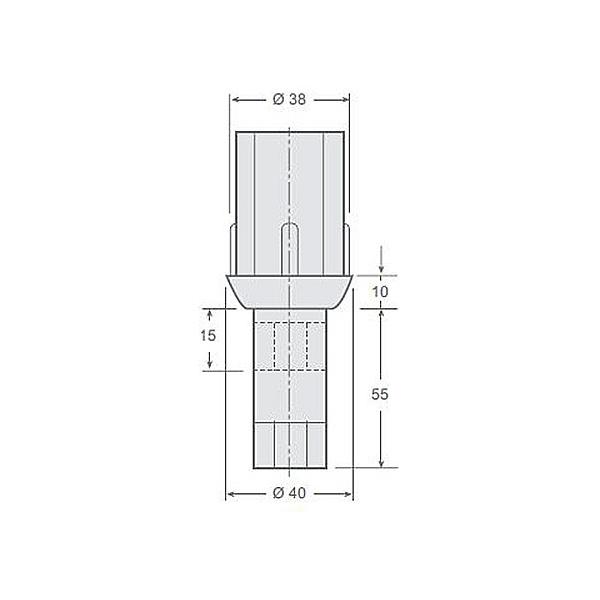 Pata redonda regulable fabricada en plástico